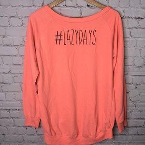 Electric Pink Tops - Lazy Days Neon Sweatshirt